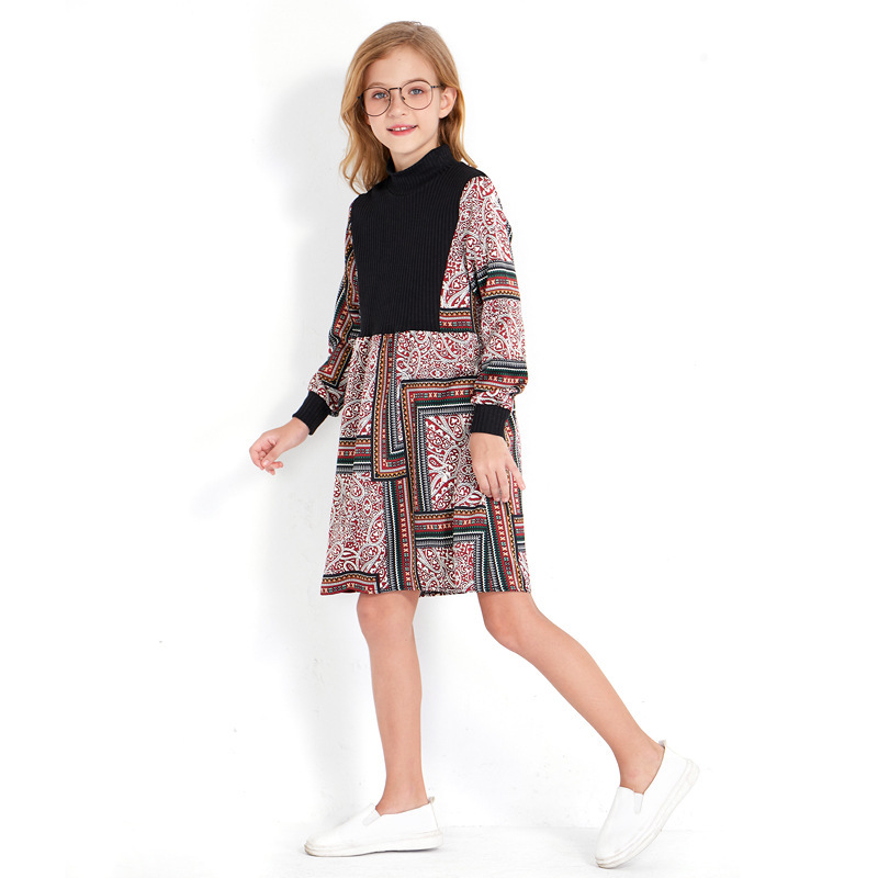 Best Offer 6036 Fall Girls Dress Long Sleeve Print Chiffon