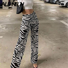 ALLNeon Y2K Aesthetics Zebra Pattern Loosed Wide-Leg Pants Casual High Rise Elastic Waist Animal Print Casual Trousers Vintage