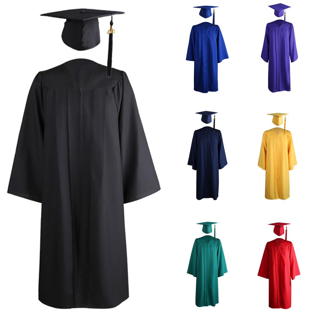 2020 Adult Zip Closure University Academic Graduation Gown Robe Mortarboard Cap Unisex V Neck Long Sleeve Clothes