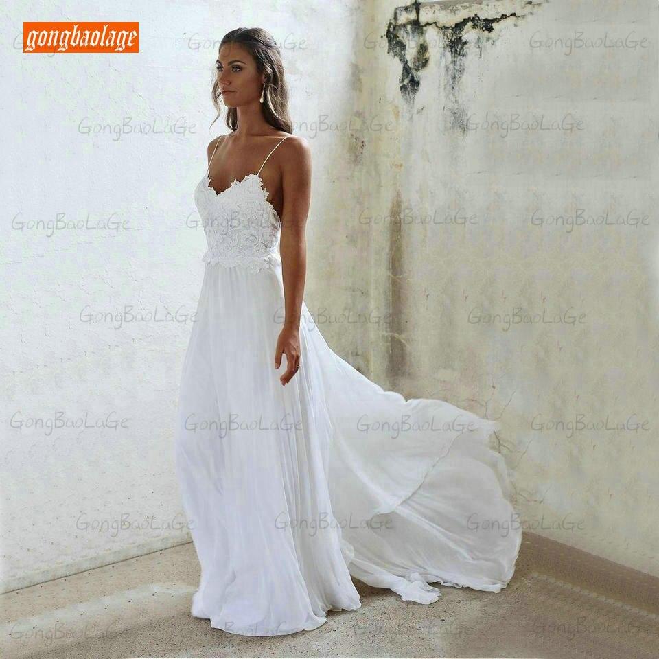 Vestidos de Casamento Vestido de Noiva Feminino de 2020 para Festa Branco Marfim Boêmio Gongbaolage Chiffon Rural