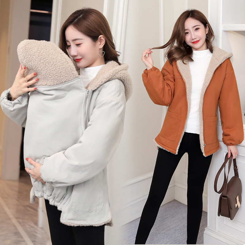 New Baby Carrier Jacket Kangaroo Maternity Hoodies Women Outerwear Warm Wool Liner Autumn Coat For Pregnant Womens Size M-3XL
