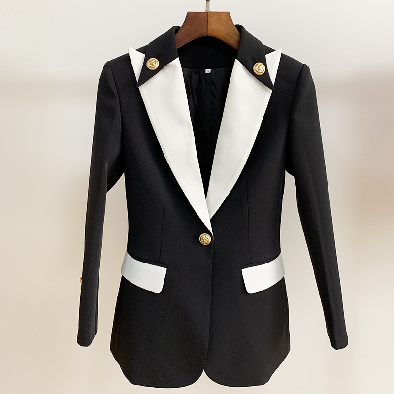 EXCELLENT QUALITY 2019 New Stylish Career Blazer For Women Color Block Collar One Button Slim Fit Blazer Jacket