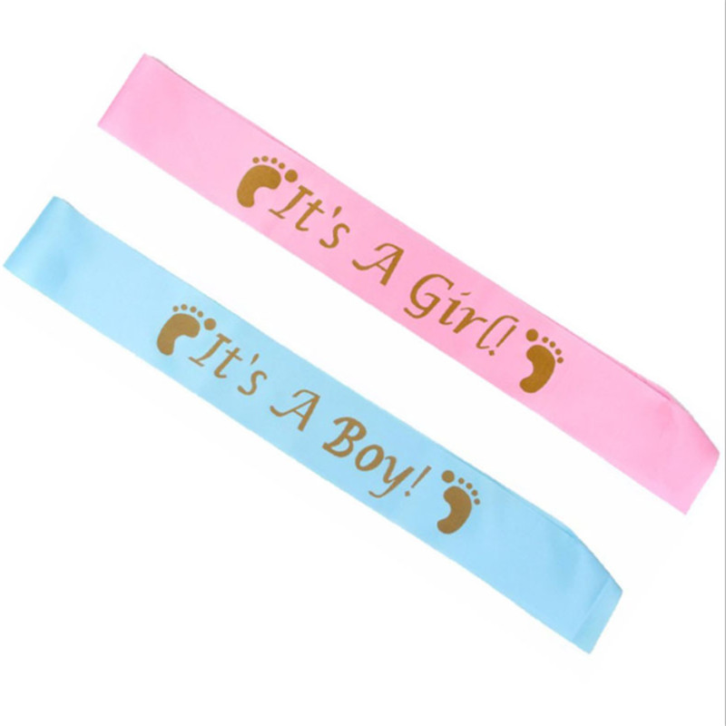 Baby Shower Party Decoration Favor Gender Reveal Shoulder <font><b>Strap</b></font> Blue/pink Shawl Its A Boy/girl First Birthday Party Supplies-S image