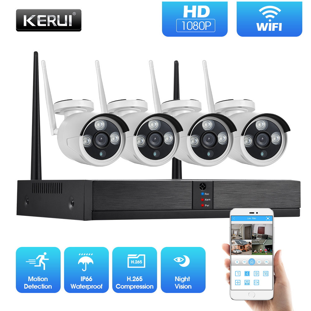 KERUI H.265 1080P 2MP 4CH Wireless NVR Security Camera System Outdoor IR-CUT CCTV Video Surveillance Kit Home Security IP Camera