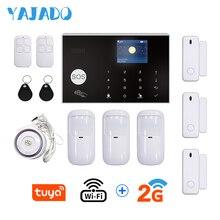 цена на YAJADO Tuya WiFi GSM Alarm System Kit Home Security Burglar Alarm with 433Mhz Wireless Detector Wired Siren APP Remote Control