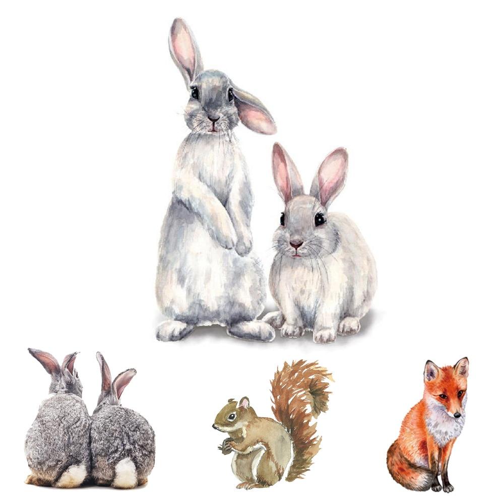Cute Animals rabbits Fox Bird Wall sticker Children's kids room home decoration living room bedroom wallpaper removable stickers