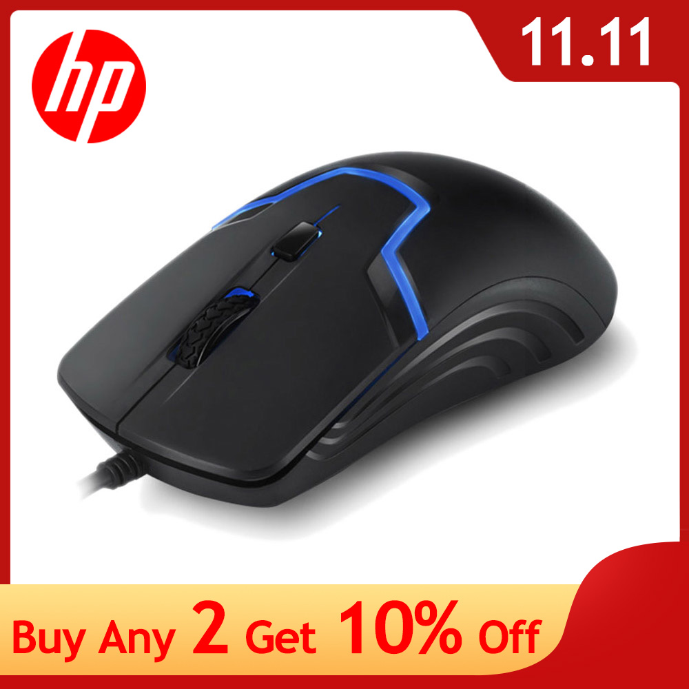 HP Gaming Wired Mouse 7 Colors LED Light Backlit Mouse 6 Buttons Ergonomic Adjustable 3200 DPI Macro Mouse Silent Computer Mice