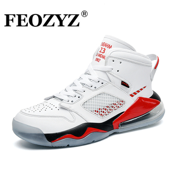 FEOZYZ Air Cushion Basketball Shoes Men Mid-Cut Shock Absorption Men Sneakers Trainers Leather Sport Shoes