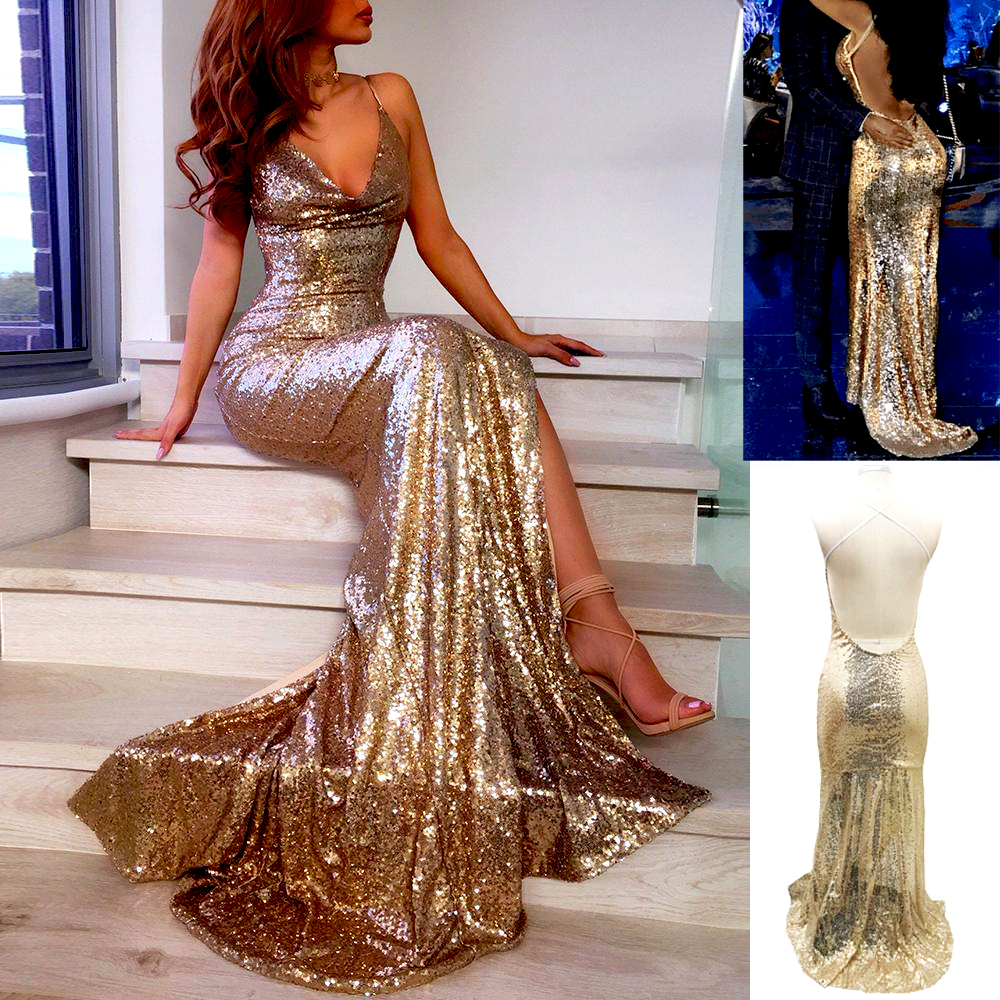 Details about  /Black Gold Chain Drape Open Back Backless Formal Gown Long Maxi 301 mv Dress M L