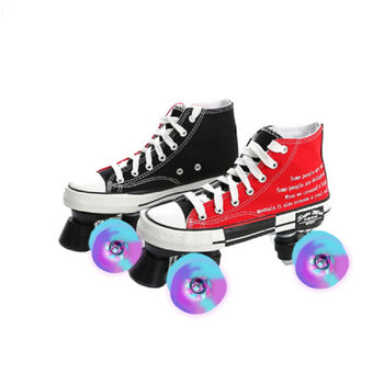 Roller Skates 4-Wheel Men Women Night Flashing Ins Hot Canvas Skates Adult Double Row Pulley Roller Skates Patchwork Patines free shipping roller skates seba frame 231mm and 243mm