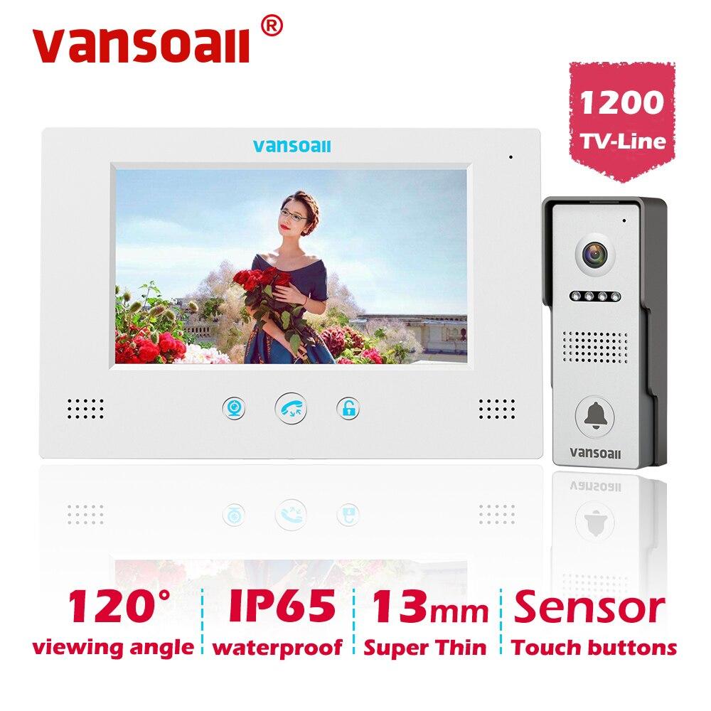 Vansoall vídeo porteiro campainha com fio sistema de vídeo porteiro 7 polegadas monitor a cores e câmera hd com liberação da porta, botão de toque