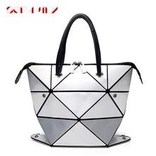 2021 Women Luminous Handbag Female Folded Geometric Plaid Bag Fashion Casual Tote Women Messenger Shoulder Bag Handbag Mochila
