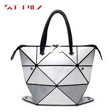 2021 kadın aydınlık çanta kadın katlanmış geometrik ekose çanta moda Casual Tote kadınlar Messenger omuzdan askili çanta çanta Mochila