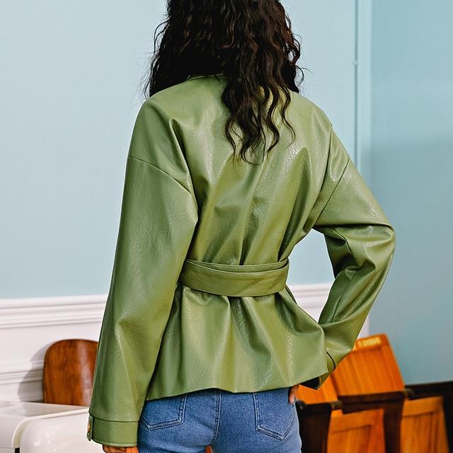 Ailegogo New Women Loose Pu Faux Soft Leather Green Jacket Turndown Collar Biker Overcoat Single Breasted Pocket Coat With Belt 3