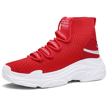 Women Casual Shoes Couple High Ankle Sneaker Knit Breathable