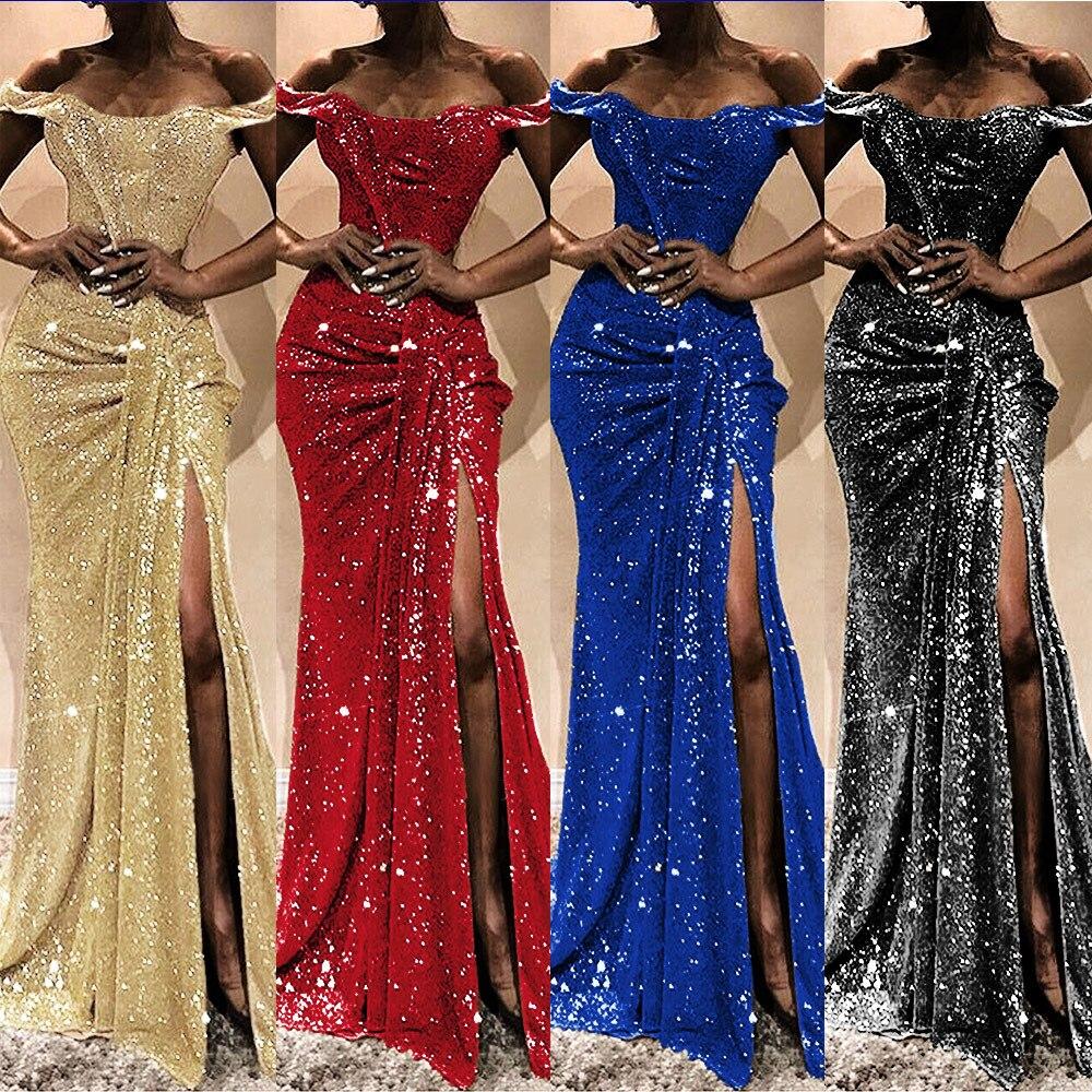 2020 Sexy soirée robe de soirée paillettes Maxi robe enveloppé poitrine une épaule sans manches étage longueur longue fente paillettes robes