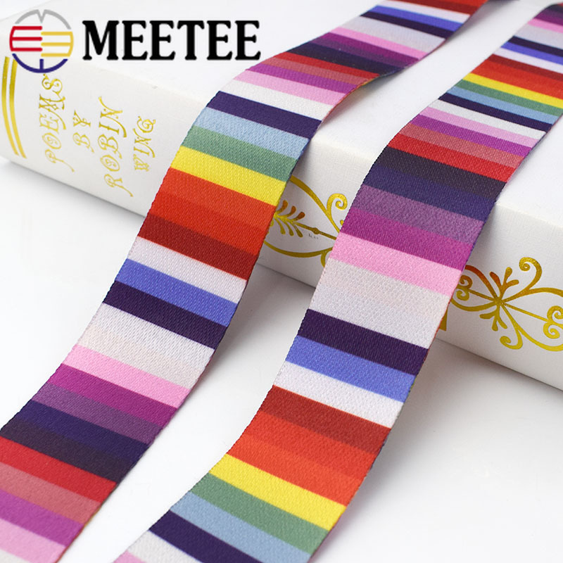 6m 36mm Polyester Printed Stripe Webbings Tapes Bag Strap Belt Ribbons for DIY Bias Binding Sewing Accessories