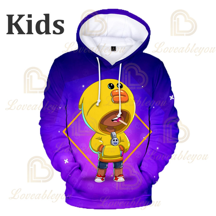 Brawling Boys Girls 3D PRIMO MORTIS Thin Hoodie Crow Spike Leon Shelly Hoodie Kids Game Anime Star Hoodie Birthday Gift