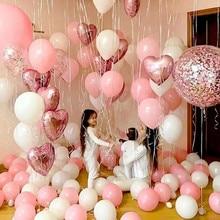 """18 дюймов розовое золото сердце фольгированный шар 10 дюймов белый розовый латексный шар воздушный шар """"Конфетти"""" свадебное украшение день Рождения Вечеринка Детские игрушки"""