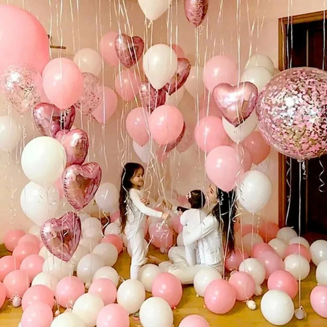 18inch rose gold heart foil balloon 10inch white pink latex balloon confetti balloon wedding decoration birthday party baby toys
