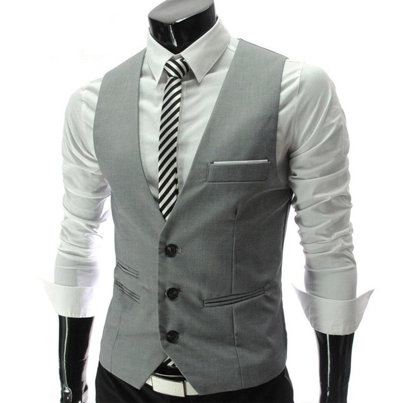 Sale Dress Vests For Men Slim Fit Mens Suit Vest Male Waistcoat Gilet Homme Casual Sleeveless Formal Business Jacket