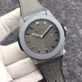 Reloj mecánico automático de acero inoxidable de marca de lujo para hombre, relojes de plata, titanio, cuero negro, oro rosado, Azul, Gris