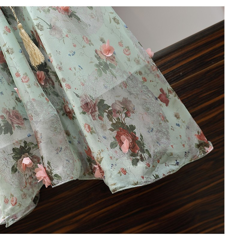 Women V-Neck Floral Appliques Chiffon Dress 2019 Summer Flare Sleeve Belt Flower Print Dress Empire Plus Size Mini Dresses 65