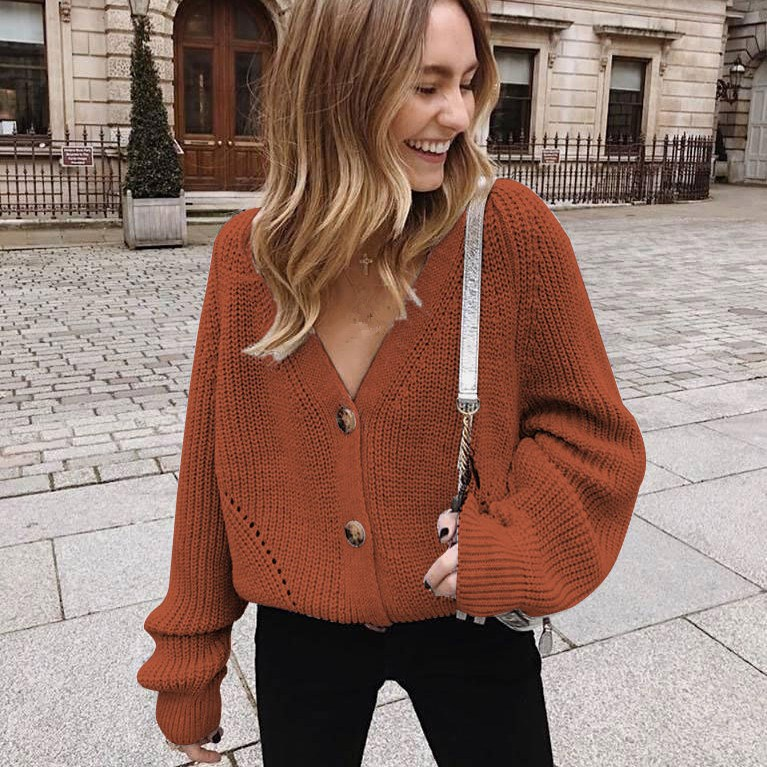 Plus Size Vintage Lantern Sleeve Knitted Tops Solid Cardigan Women Casual V Neck Button Loose Sweater