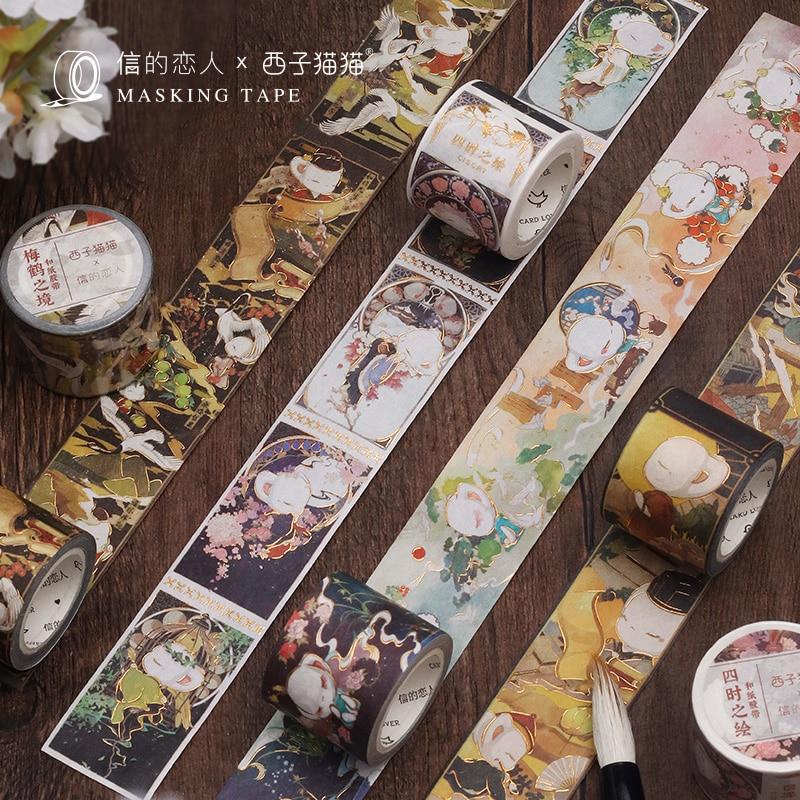 30mm*5m Kawaii Elegant Cat Gold Masking Washi Tape Decorative Adhesive Tape Decora Diy Scrapbooking Sticker Label Stationery