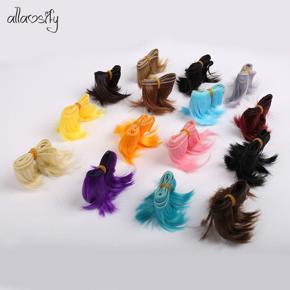 Allaosify 5cm*100cm Black Red Hair BJD WIG SD DIY WIG For Dolls Free Shipping