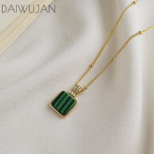DAIWUJAN 2019 New Ins 925 Sterling Sliver Malachite Choker Necklaces Gold Beads Square Peadant Necklace For Women Jewelry(China)