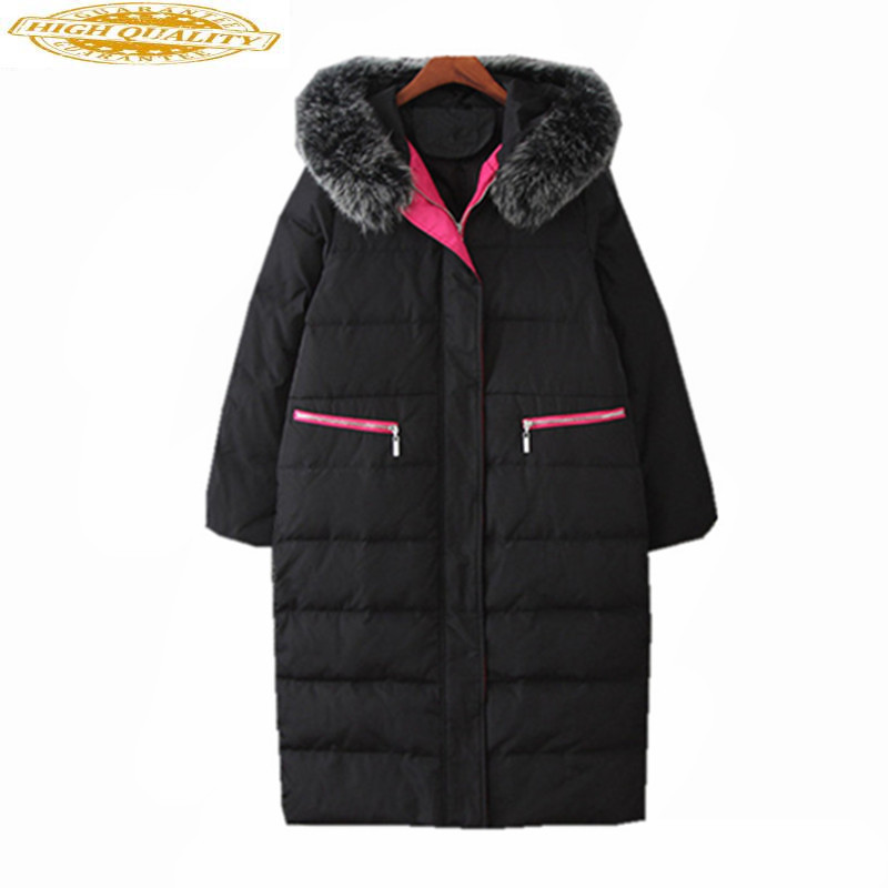 Women's White Duck Down Jackets Fox Fur Collar Coat Female Winter Jacket Women Hooded Thick Parka Chaquetas Mujer WXF461