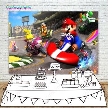 Telón de fondo fotográfico juego de carreras de Super Marios Bckground para niños cumpleaños fiesta pastel Mesa decoración foto estudio telón de fondo