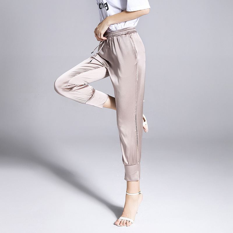 Mulberry Silk Heavy Fancy Crepe Silk Pants Lace Elastic Waist Slim Thin Pencil Ankle-length Pants Casual Silk Pants1810028