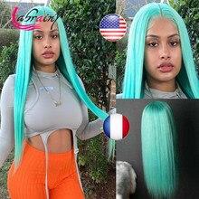 Hortelã verde osso reto brasileiro perucas de cabelo humano pré arrancadas colorido 250 densidade hd perucas transparentes cabelo do bebê perruque longue