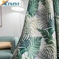 Тропические затемненные шторы для гостиной  спальни  окна  зеленые листья  обработка пальмового дерева  Затемненные панели  занавески  жалю...