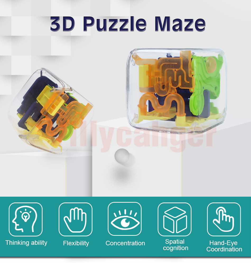 Brain Teaser Puzzle Game Three-Dimensional Maze Toy for Kids /& Adults LEFN 3D Maze Ball Magic Labyrinth Brain Teaser Puzzle Intelligence Challenge Color : Blue