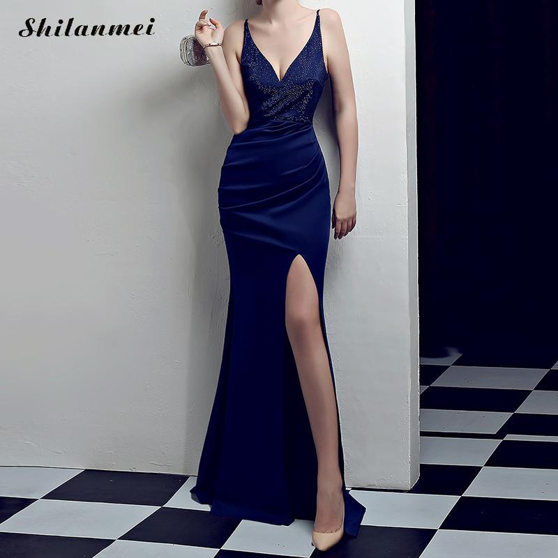 Sexy longue robe femmes Spaghetti sangle dos nu Satin élégant Maxi robe robes de soirée haute fente Sequin robe de sirène