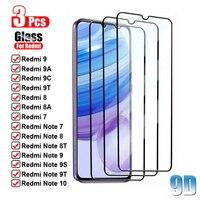 3 pçs 9d vidro temperado para redmi 9 8 7 7a 8a 9a 9c 9t nota 10 9 8 7 pro max 8t 9s protetor de tela filme frontal de proteção de vidro