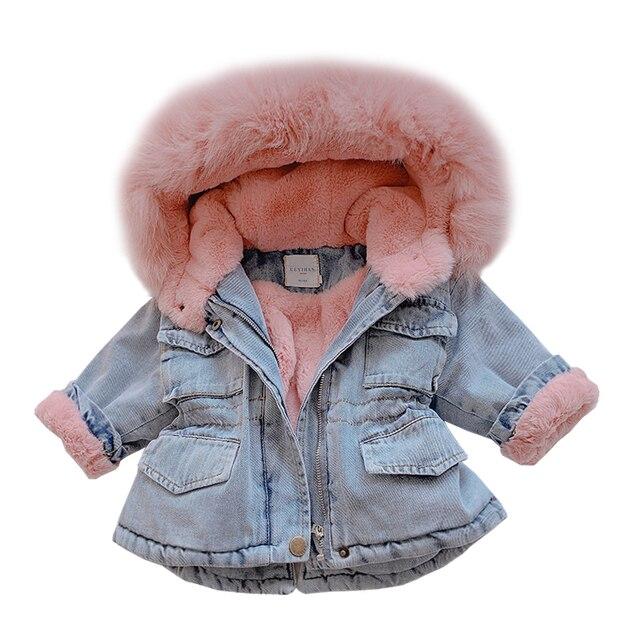 Детская ковбойская теплая куртка для мальчиков и девочек, утепленные куртки для малышей, джинсовое пальто с бархатным утеплителем для холодной зимы, для детей ясельного возраста, в наличии размеры от 2 до 8 лет