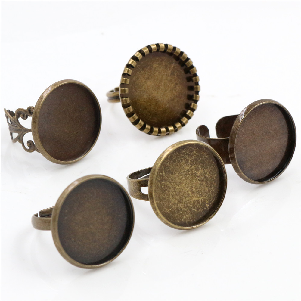20mm 5pcs Antique Bronze Plated Brass Adjustable Ring Settings Blank/Base,Fit 20mm Glass Cabochons,Buttons;Ring Bezels -