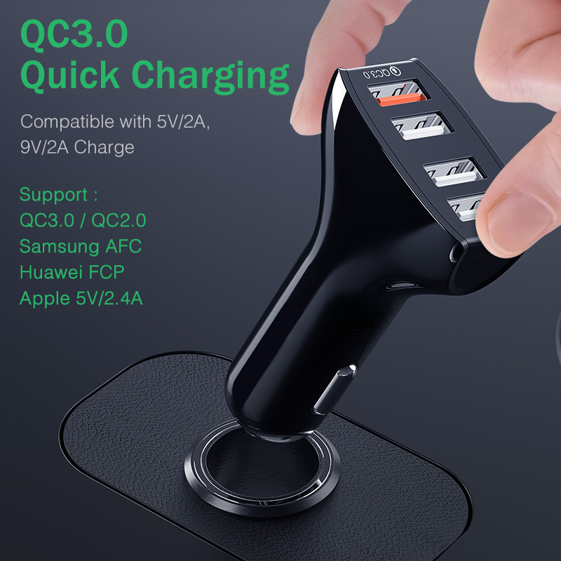 Image 3 - YKZ Car Charger Quick Charge QC 3.0 Car Charger 4 Ports Fast Car phone Charger Phone Car USB Charger for Samsung Xiaomi iPhone-in Car Chargers from Cellphones & Telecommunications