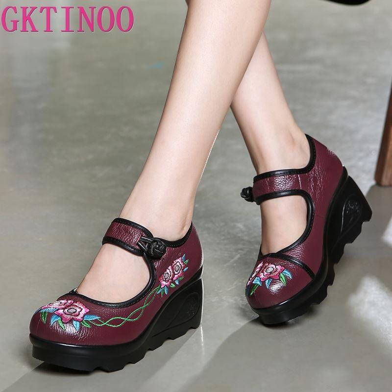 GKTINOO 2020 Spring Handmade Shoes Platform Wedges Women Pumps Flower Embroider Genuine Leather Women Casual Shoes High Heels