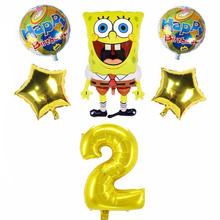 6pcs SpongeBob SquarePants And 32inch Number Foil Balloons Birthday Party Decorations Kids Globos Baby Shower Supplies Kid Toys