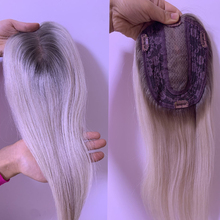 Hair-Toppers Blonde 100%Human-Hair Toupee Lace Remy Weft Clip-In 12x3cm Ombre