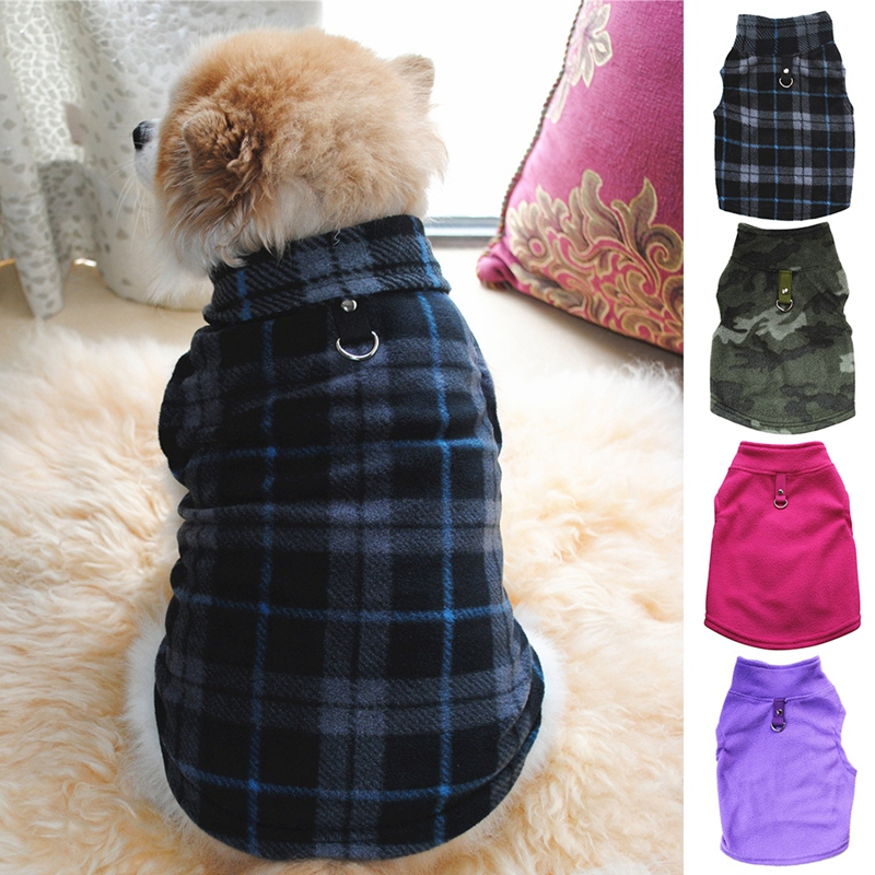 Classic Plaid Pattern Dog Vest Fashion Sleeveless Pet Sweater With Leash Ring For Small Middle Cats Dogs Velvet Warm Pet Clothes