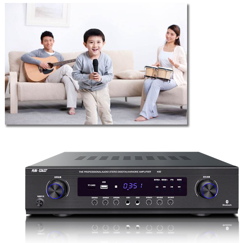 Power Home KTV Stage Hifi Fever Digital Amplifier Karaoke OK with USB SD 900W 220V K60 <font><b>2.1</b></font> Channel <font><b>Bluetooth</b></font> Amplifier image