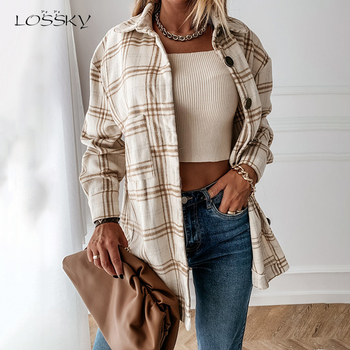 Long Shirts Blouses Autumn Winter White Long Sleeve Loose Casual Plaid Button Up Turn-down Collared Tops Jacket Coat For Women