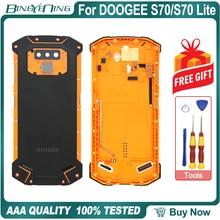 Nueva carcasa de batería, caja protectora de batería, cubierta trasera + Cable de volumen de alimentación + Cable de huella digital + Cristal de cámara para Doogee S70/S70 Lite
