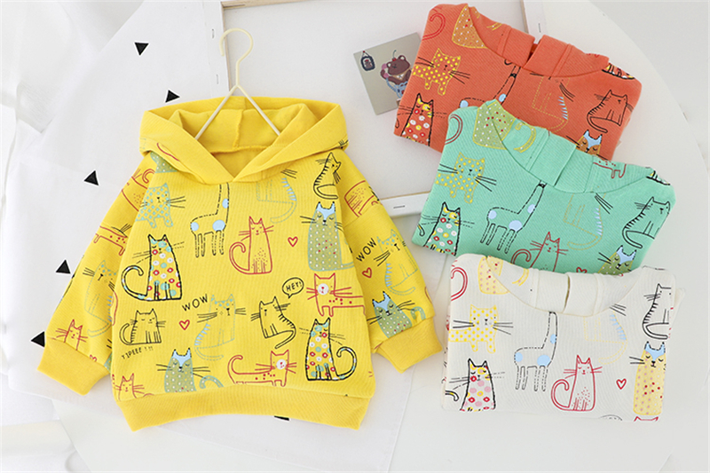 HYLKIDHUOSE 2020 Spring Baby Girls Boys Clothing Sets Hooded Printing Cartoon T Shirt Jeans Children Toddler Infant Clothes